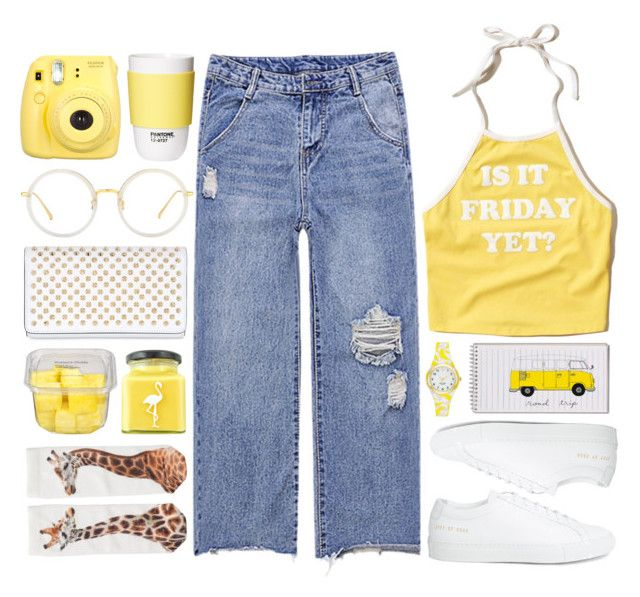 """""""Yellow Game"""" by mejola ❤ liked on Polyvore featuring Hollister Co., Common Projects, ROOM COPENHAGEN, Fujifilm, Linda Farrow, Christian Louboutin, Flamingo Candles, Kate Spade and Monki"""