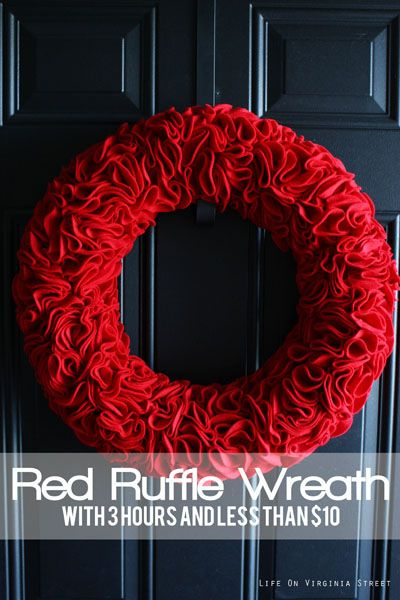 red ruffle wreath tutorial
