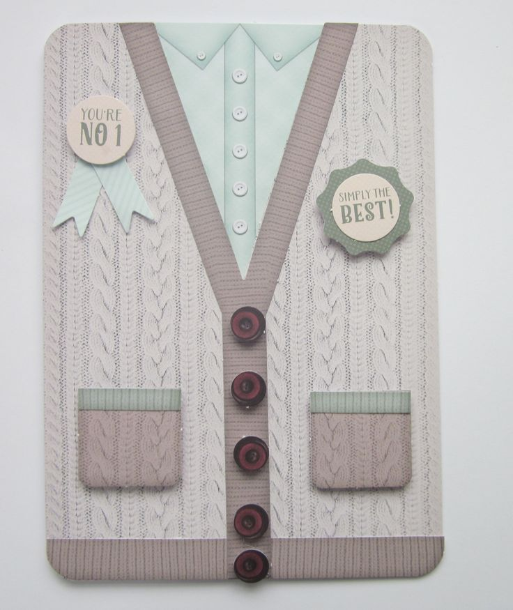 Concept NV 81 Simply the best. You're NO 1 8×6. The card forms the front of a knitted cardigan. Extra pockets and buttons added with 3d pads. Insert included. £3.90 Please follow and like us: