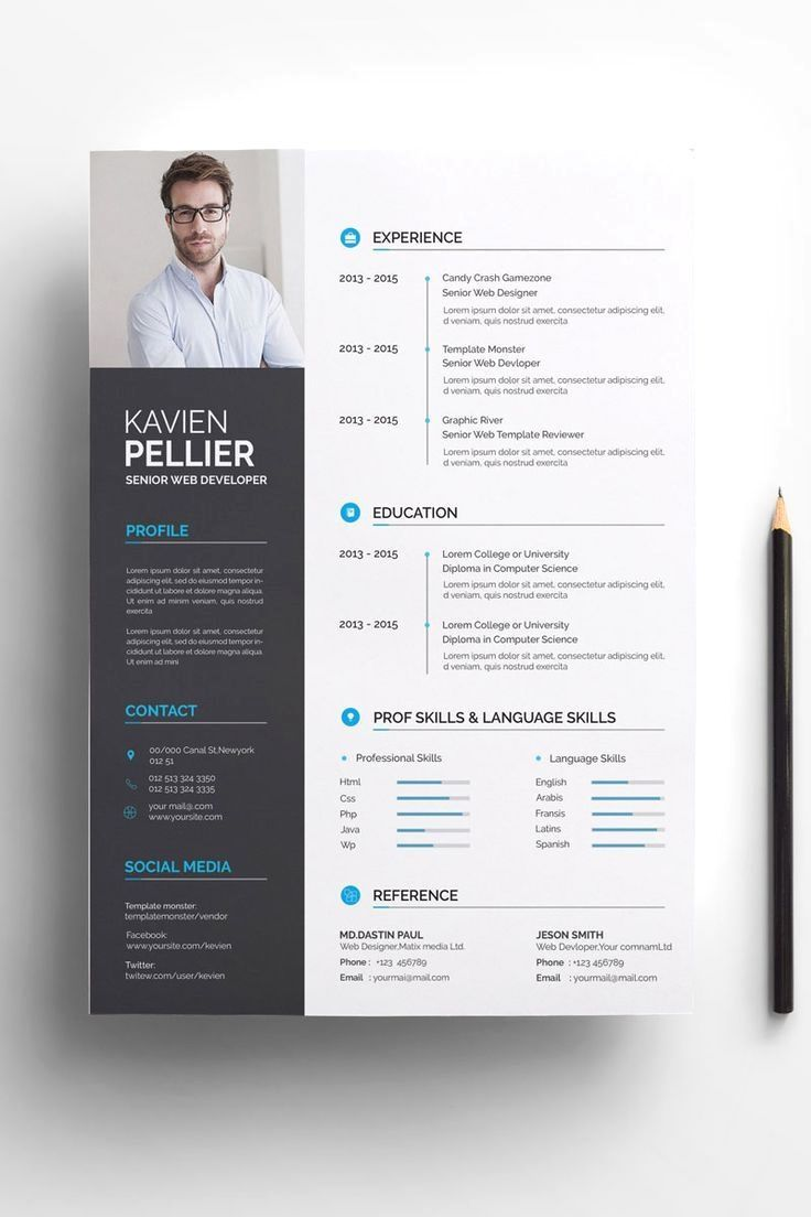 A4 Paper Size 210297 Mm Two Page Template Resume Cv One Page Template Referenc Resume Resume Design Template Graphic Design Resume Creative Resume Templates
