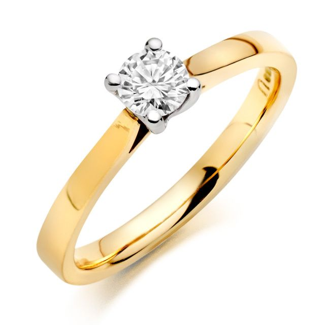 9ct Yellow Gold Brilliant Cut Diamond ring  SKU:BB692009WBMS £406.00 Non certified www.wgjewellery.com   Simple and elegant, this beautiful 9ct gold diamond solitaire ring is a timeless classic. Set on a delicate 9ct yellow gold band, the brilliant cut diamond is held in four white gold claws to show off its natural beauty and fire to its very best advantage.  Diamond Weight: .20ct Diamond Colour: J - Near Colourless Diamond Clarity: SI1 - Slight Inclusions Diamond Cut: Good proportions
