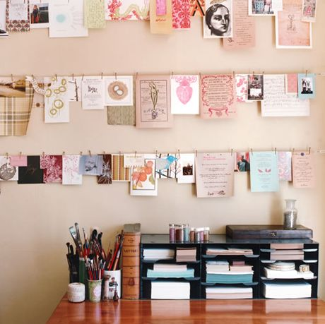 Great idea for hanging photos, postcards, letters, memos etc! Going to start one of these in my room!  Source: weheartit.com