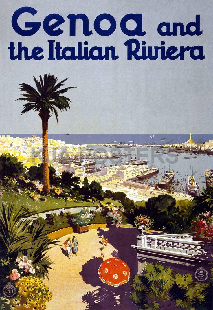 Genoa and the Italian Riviera - vintage travel poster - Liguria, beach  #hotelmorchio www.hotelmorchio.com