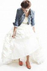 jeans jacket with wedding dress