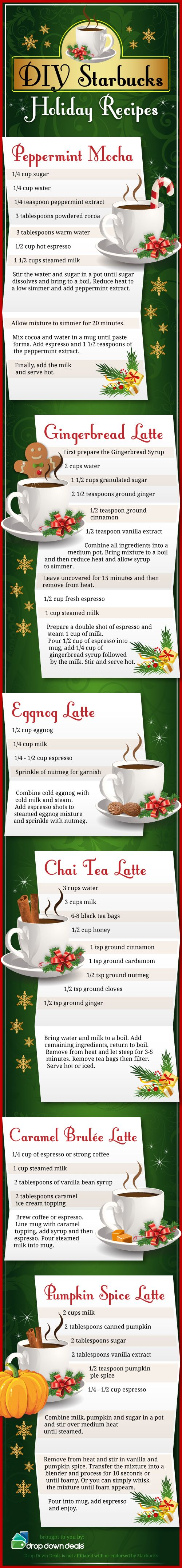 Starbucks holiday drink recipes perfect for a cold winter night at home...for those of you who like coffee.