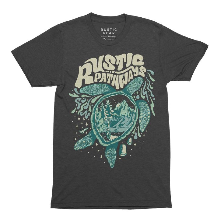 Rustic Pathways Turtle Tee (Unisex)  T-shirts just don't get any softer! This classic unisex tee is the perfect fit for everyday wear or for a Rustic Pathways adventure, and the turtle design is totally eye-catching.  Every purchase you make helps support the Rustic Pathways Foundation and the communities where we work.