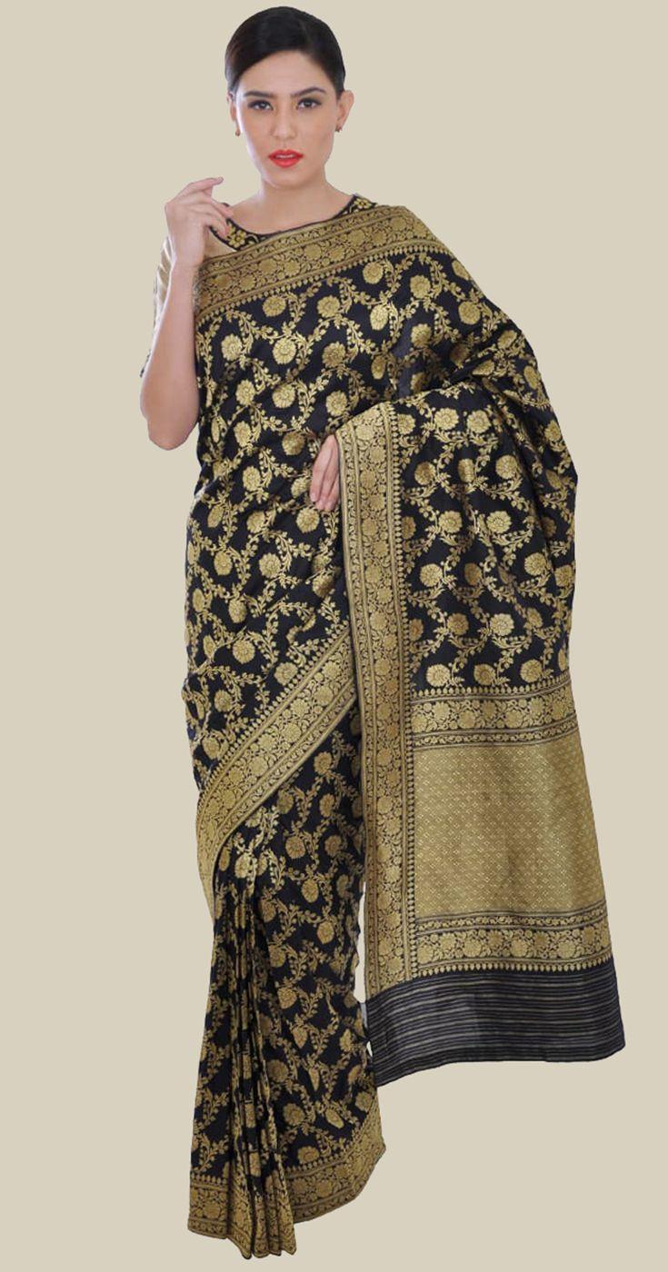 Black Banarasi Kadhwa Zari Handwoven Pure Silk Saree
