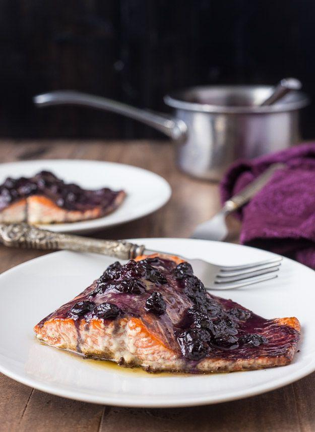 Blueberry bourbon glazed salmon