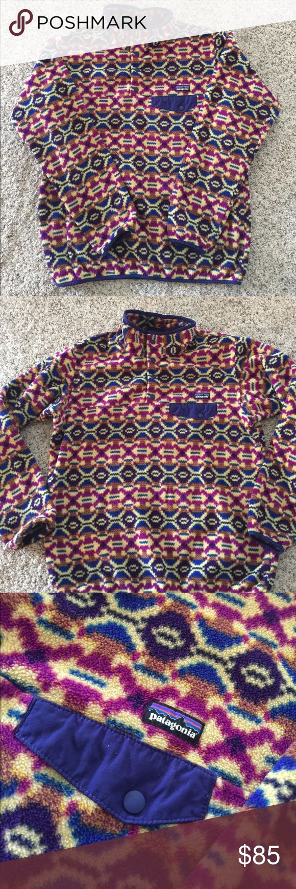 Patagonia Synchilla pullover SZ L Patagonia Synchilla pullover SZ L. Gorgeous pattern and great condition. I bought this believing it was a M. No piling or tears. Patagonia Sweaters