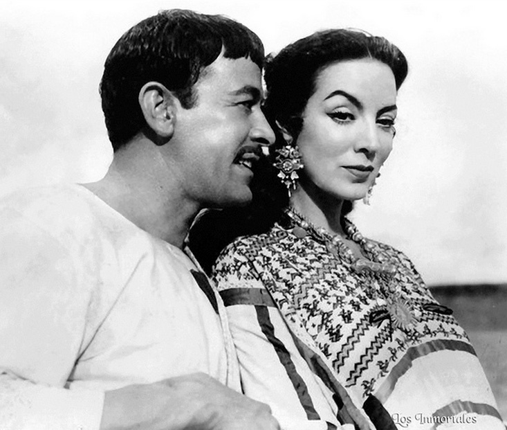 """Pedro Infante and Maria Felix. This photo is from """"Tizoc"""", one of my favorite films. If you want to see a great movie from the Golden Age of Mexican Cinema, I recommend this movie. You can watch the whole movie complete on You Tube.By the way, the movie's in color."""
