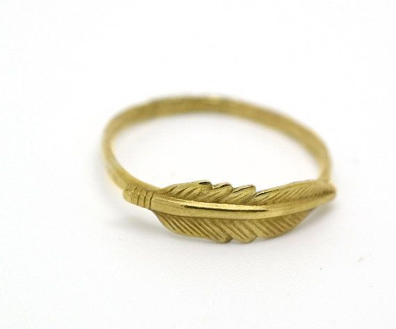Feather Ring 14K Gold Fill Ring Feather Jewelry by fifthheaven