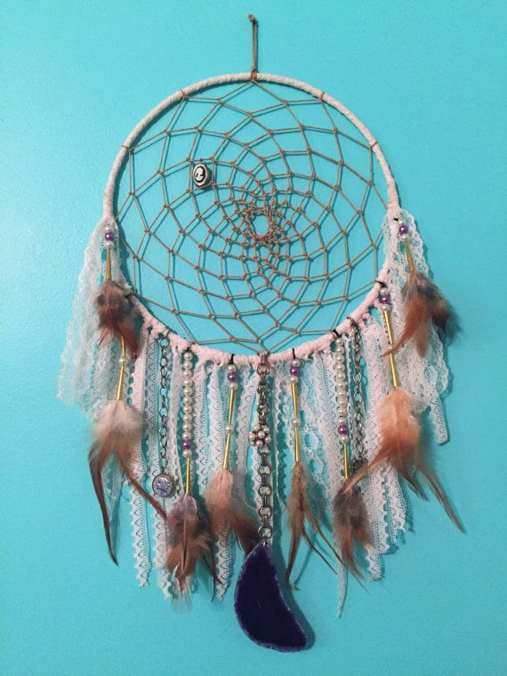 Lace wrapped boho hippie style dreamcatcher by EarthDiverCreations