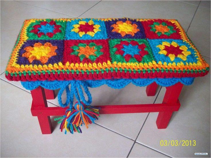 Fotos de Banquito De Madera Con estuche En Crochet. Banco Infantil.