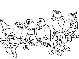 Çocuklar için şube karikatür boyama ücretsiz yazdırılabilir Beş şarkı kuşlar
