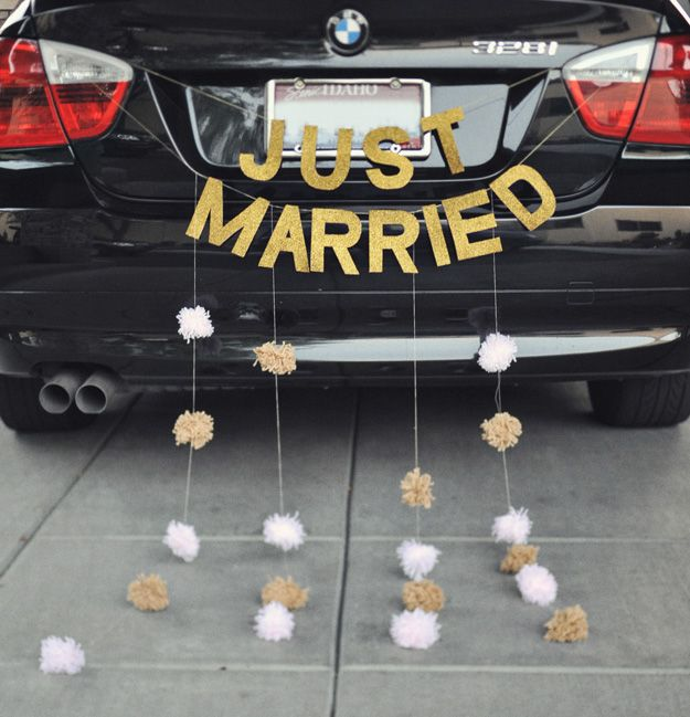 "just married sign for my carriage - then can hang it in front of the head table for reception as well (thinking also ""happily ever after"")"