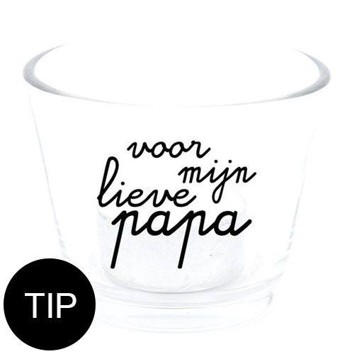 Vaderdag kadotip! Gezellig waxinelichtje glaasje met de tekst voor mijn lieve papa! Je shopt 'm bij de webshop Sascrea!   Shop! ---> http://tinyurl.com/ll8jgn6