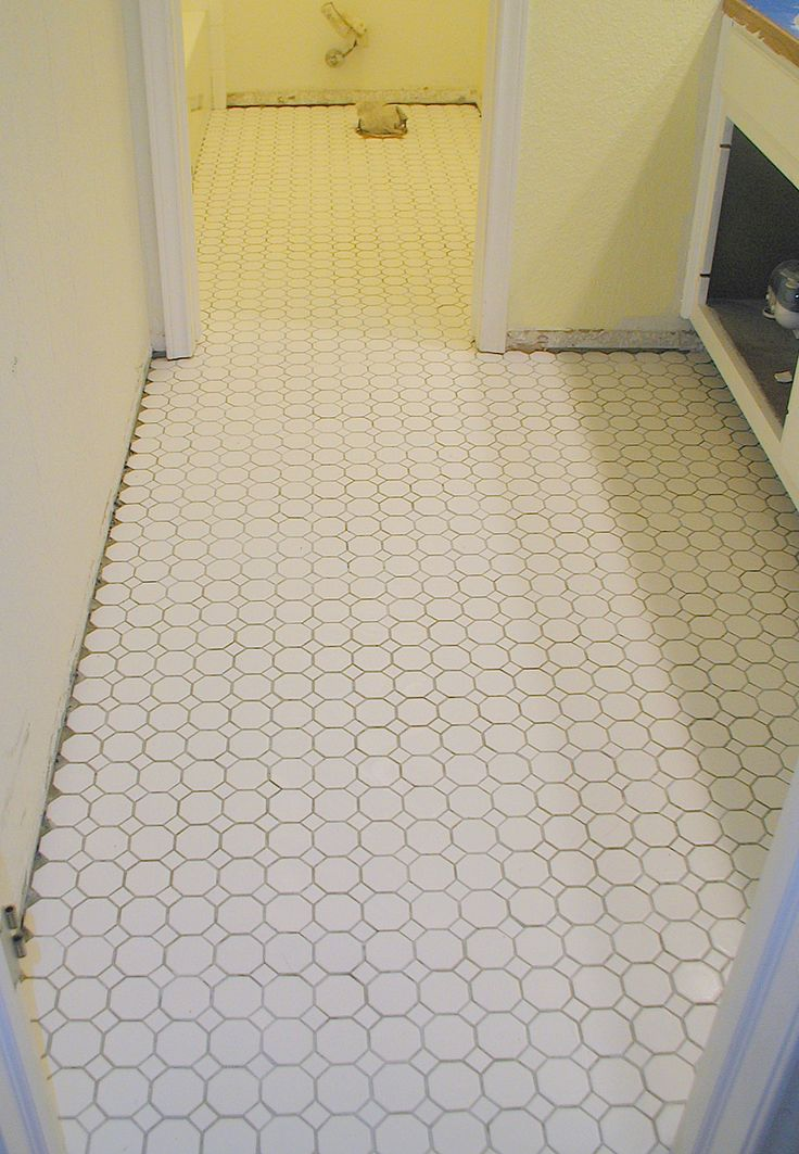 Elegant Bathroom Tile Floor Remodel With White Pentagon Floor And Yellow  Wall : White Bathroom Floor