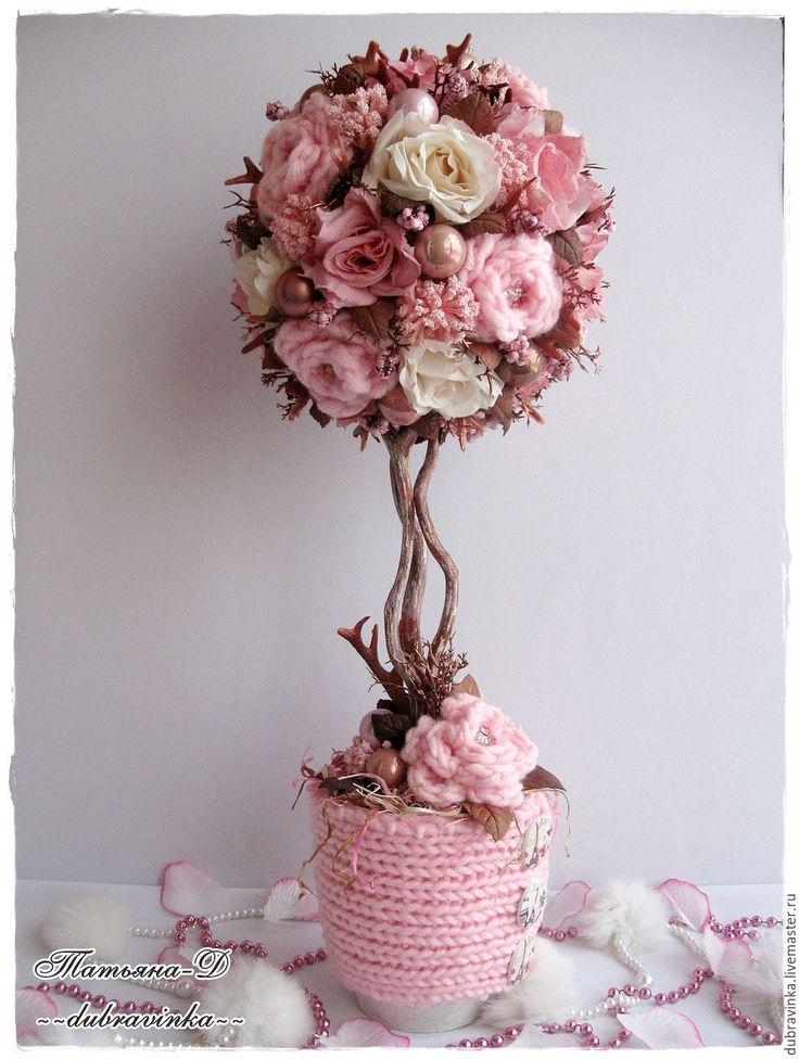 """Купить Топиарий """"Нежное тепло"""". - розовый, нежность, нежно-розовый, топиарий дерево счастья"""