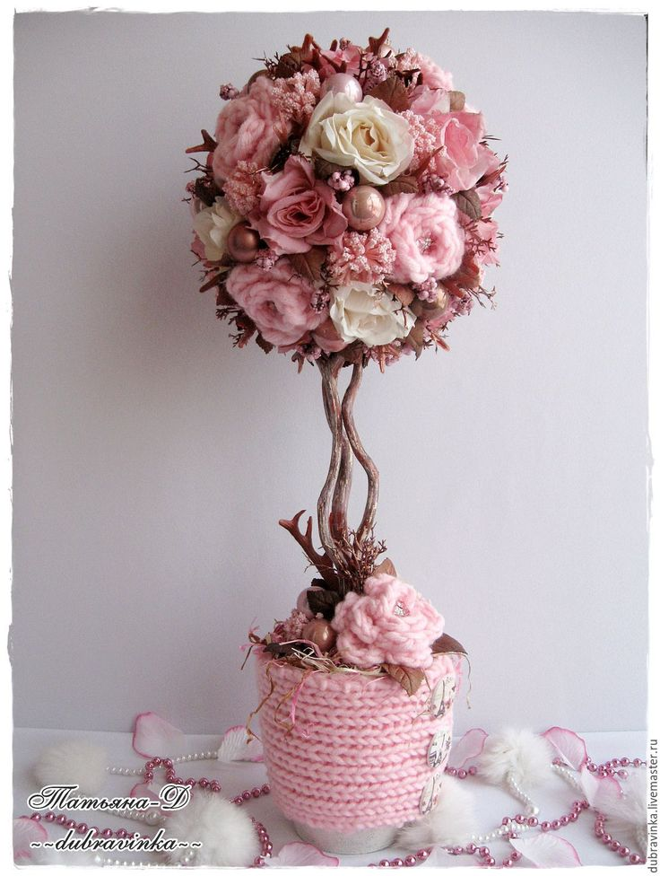 "Топиарий ""Нежное тепло"". - розовый, нежность, нежно-розовый, топиарий дерево счастья"