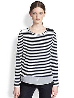 Clu Too - Striped Shirt-Trim Top