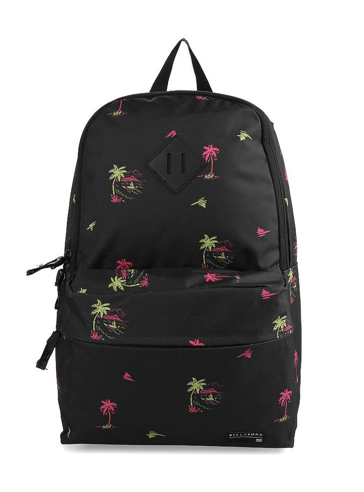 Atom Backpack by Billabong. Black atom with a neon palm tree, this cool backpack made of polyester, one main compartment, zipper closure, front pocket, top carry handle, adjustable padded strap, this backpack suitable for everyday use. http://www.zocko.com/z/JIGX0