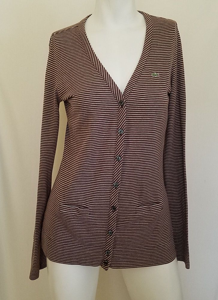 Lacoste Cardigan 38 Brown Button Down Stretch Long Sleeves Striped Sweater #Lacoste #Cardigan #Work