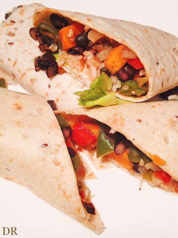 Indiaase burrito's met zoete aardappel en zwarte bonen