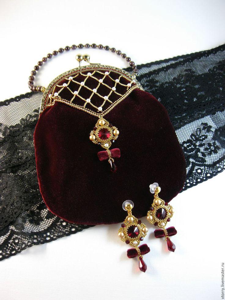 """Купить Комплект """"Royal"""" (серьги+сумочка) - комплект, украшения, серьги, сумочка вечерняя, сумочка с фермуаром"""