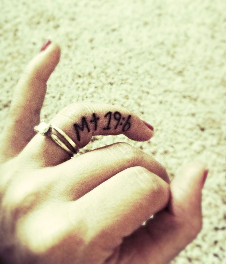 Ring finger tattoo. Matthew 19:6 what god has joined together let man not separate. Christian tattoos. Tattoos for girls.