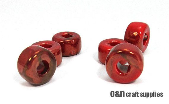 Rondelle greek ceramic beads enameled beads burgundy red by OandN, $4.90 #jewelrysupplies #beads