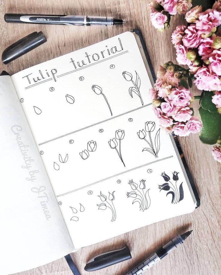 Bullet Journal Drawing Idea Tulip Drawings Tulip Drawing Tutorial Creativi Bullet Tulip Drawing Bullet Journal Doodles Bullet Journal Inspiration