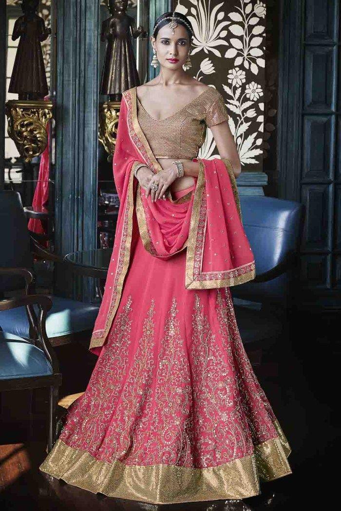 Nakkashi Georgette Party Wear Lehenga Choli in Pink Colour – ADDSHOP.NET