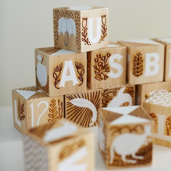 Etched Wooden Blocks Crate And Barrel Scandinavian Design For