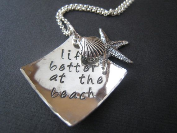 Lifes Better at the Beach Hand Stamped by stampedjewellery on Etsy, $57.00