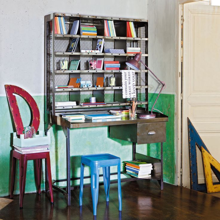Escritorio-secreter de metal con efecto envejecido An. 110cm Télégraphe | Maisons du Monde