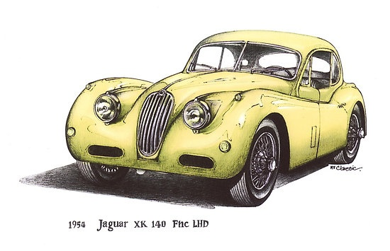 Yellow 1954 Jajuar XK140 FNC LHD Car $3