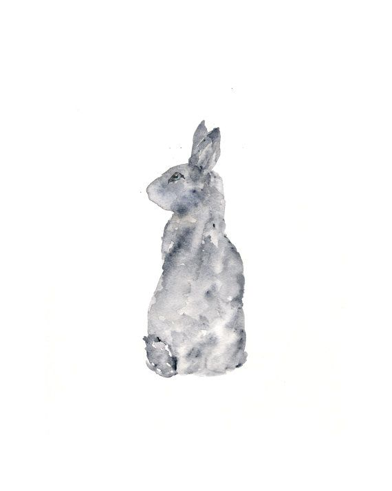 Watercolor rabbit painting, rabbit art, rabbit silhouette, watercolor animals, bunny painting, nature, original painting, grey - 8X10 via Etsy