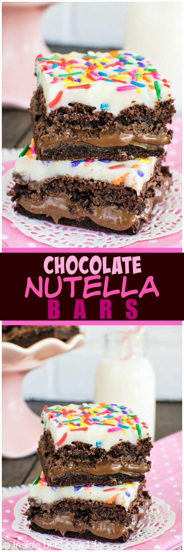 Chocolate Nutella Bars - the creamy chocolate center and white chocolate topping give these easy bars a fun twist!  Great dessert recipe!