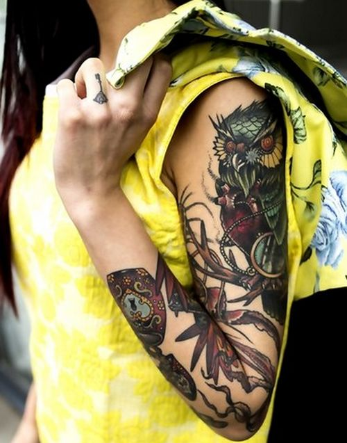 ... + images about Tattoos on Pinterest | Owl, Owl tat and Beautiful owl Owl Sleeve Tattoos For Girls