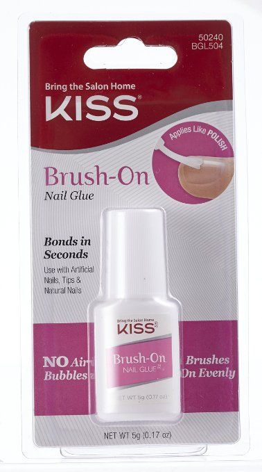 Use this to repair broken acrylic ruler  Kiss Products Brush-On Nail Glue, 0.05 Pound