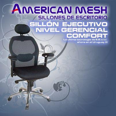 """Sillón Ejecutivo Gerencial """"CONFORT"""" Alta Gama Mesh U.S.A. y Metal Cromado Exclusivo !!! Precio: U$S 359 (Dólares Americanos) + info: http://sillonesdeoficinayescritorio.com.uy/sillon-ejecutivo-gerencial-confort/"""