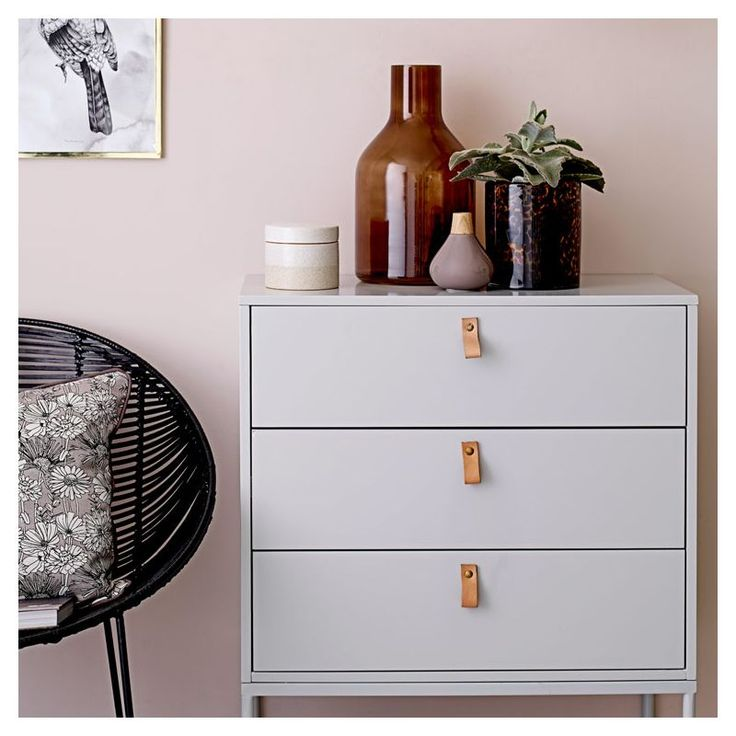 Commode grise 3 tiroirs CUTE CHEST Bloomingville