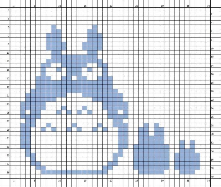 Knitting Chart No Stitch : Nerdcrafts totoro double knit potholder hand knitted