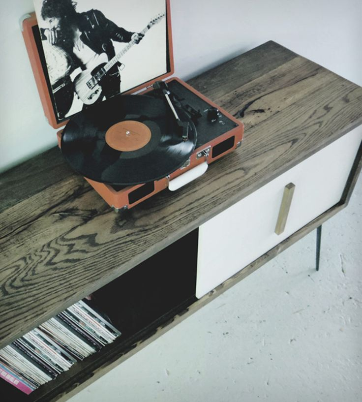 Large Reclaimed Wood Record Cabinet | Home Furniture | Modern Arks