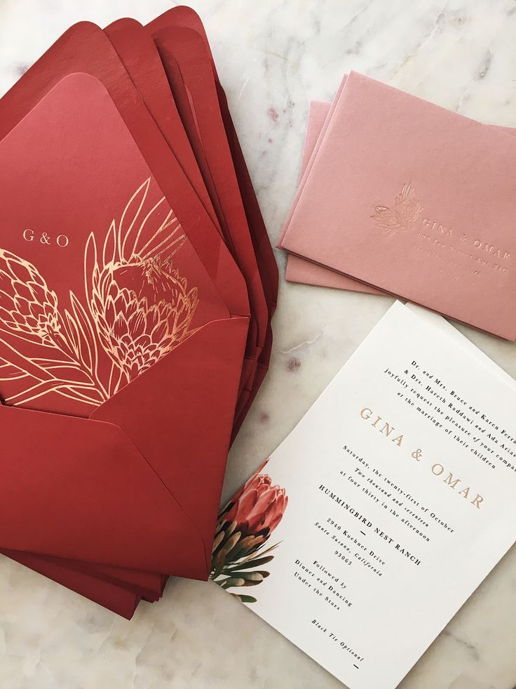Red and Gold Wedding Invitations with Protea