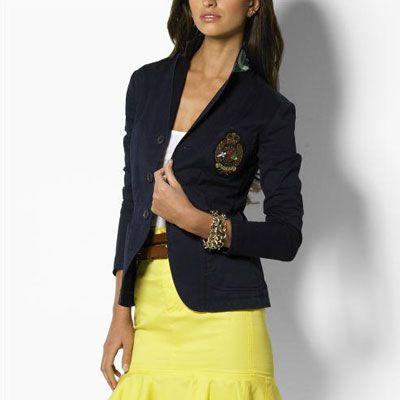 Distinguished Ralph Lauren Women's Crown Crested Blazer in Dark Blue, Best Ralph Lauren Polo Shirts Online Store