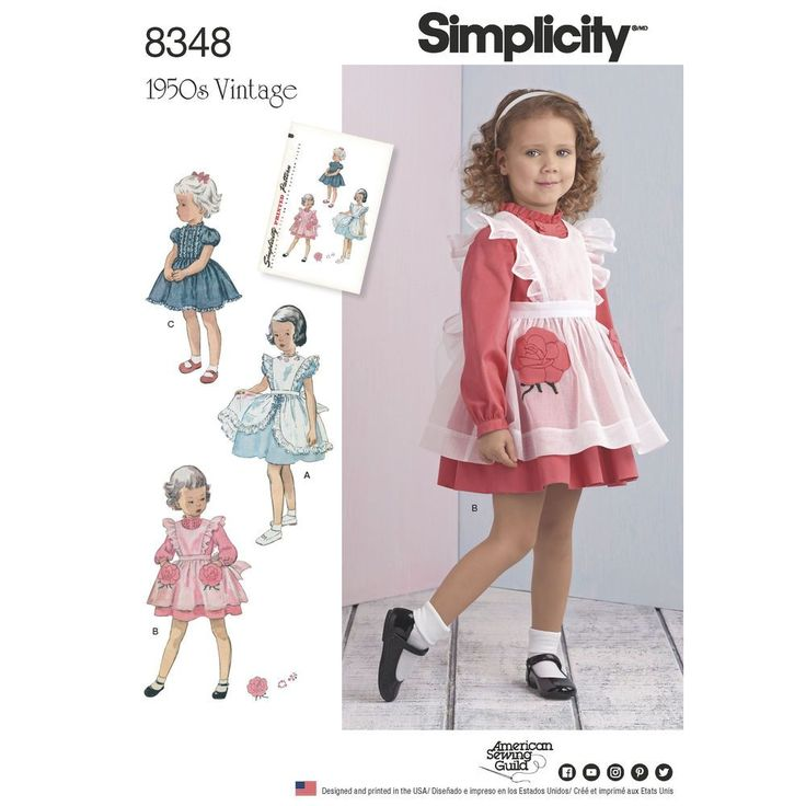 You will love this outfit combining a vintage 1950s toddlers' dress and pinafore. Details like rose flower pockets, tiny bow and ditsy flower trim at neckline gives it the authentic 1950s look. Simplicity authentic vintage sewing pattern.