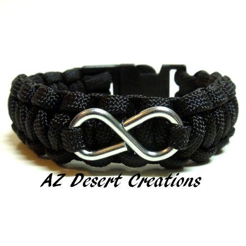 Infinity Paracord Survival Bracelet Black with Infinity Symbol | DesertCreations - Jewelry on ArtFire