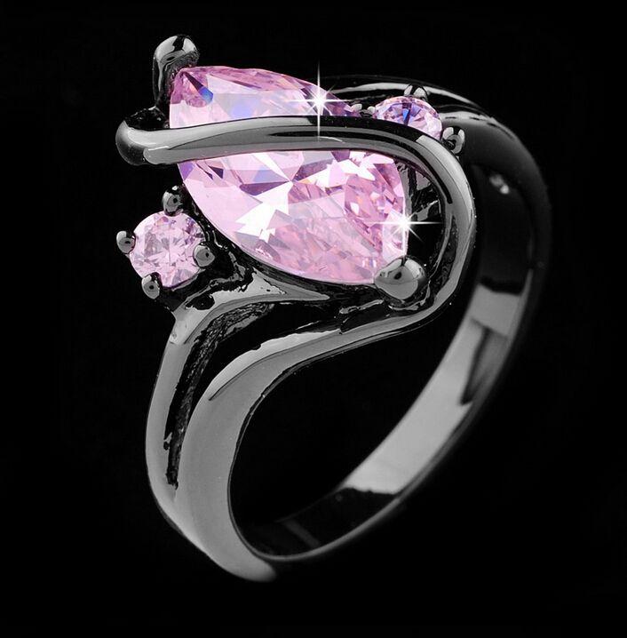 Vintage-Mode Luxus Schwarze Gold Saphir Zirkon CZ Diamant Oval Gekreuzte Ringe Für Frauen Hochzeit Schmuck anillos Von R129