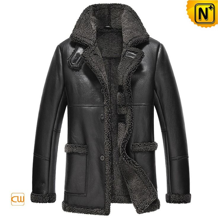 CWMALLS® Jefferson City Sheepskin Shearling Coat CW819436 - Black sheepskin shearling trench coat in best quality for winter season, made from premium sheepskin leather with lamb fur shearling, CWMALLS® offers custom made service to this coat, you can order it without any worries.